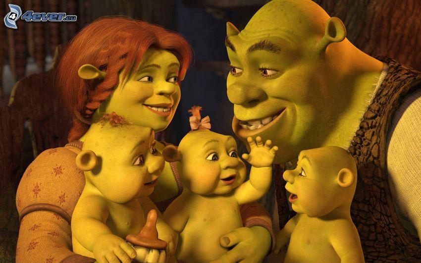Shrek & Fiona, bebés, familia