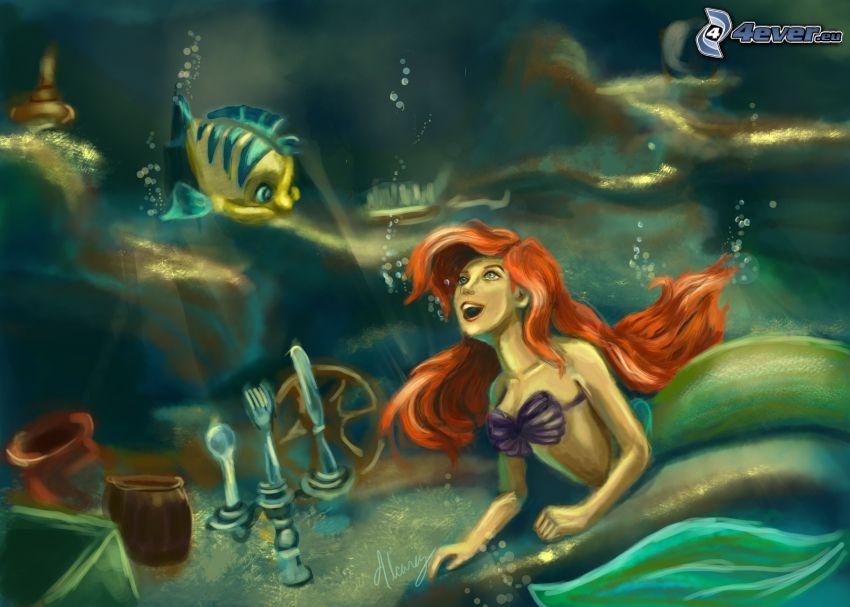 sirena, pez amarillo, nadar bajo el agua