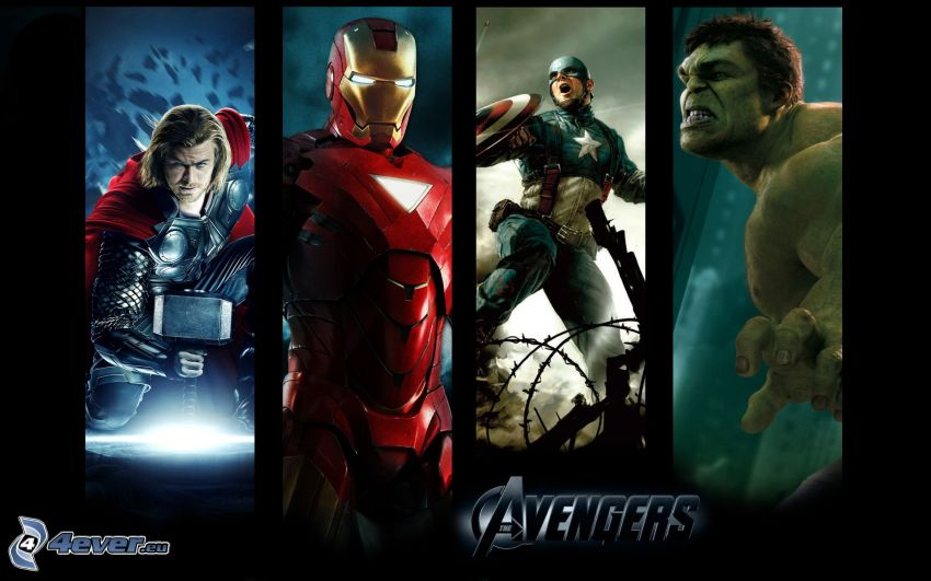 The Avengers, Thor, Iron Man, Captain America, Hulk