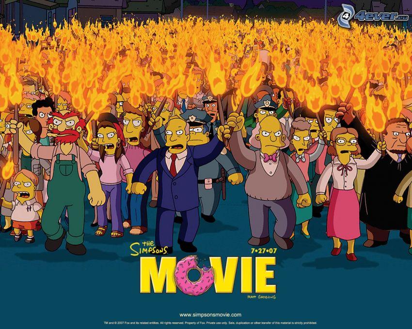 The Simpsons Movie, Los Simpson, película, antorchas, fuego