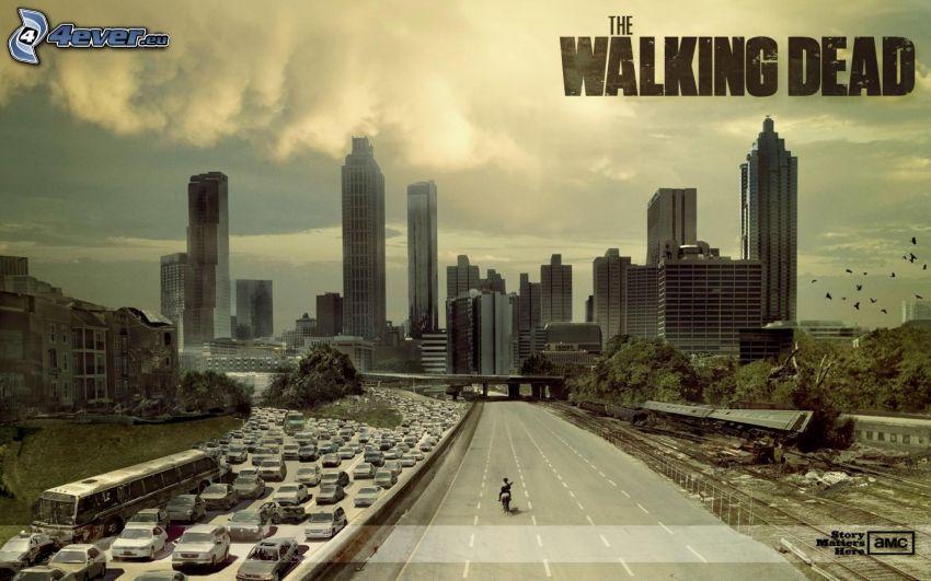 The Walking Dead, carretera, congestión vehicular