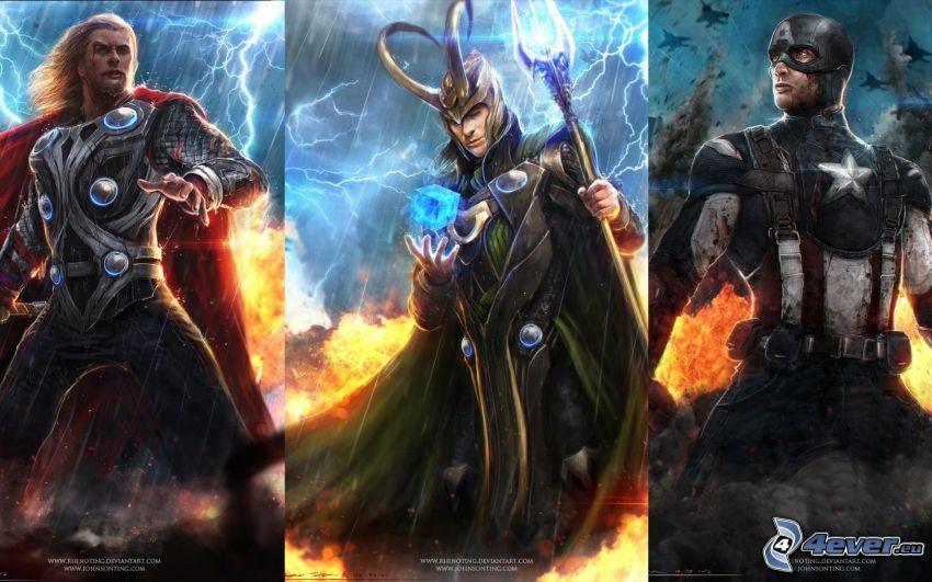 Thor, Loki, Captain America