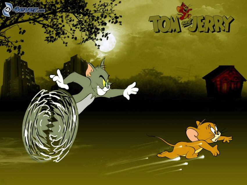 Tom y Jerry, carrera, atardecer