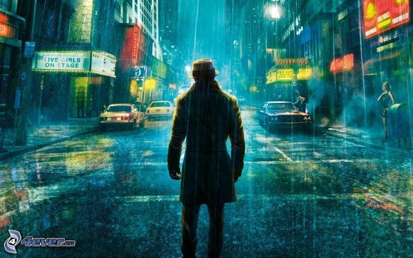 Watchmen, calle, lluvia
