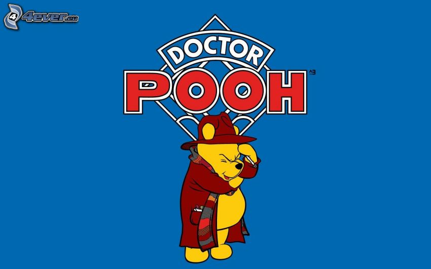 Winnie the Pooh, abrigo, sombrero, bufanda
