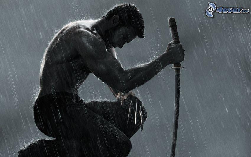 Wolverine, hombre musculoso, katana, espada, lluvia