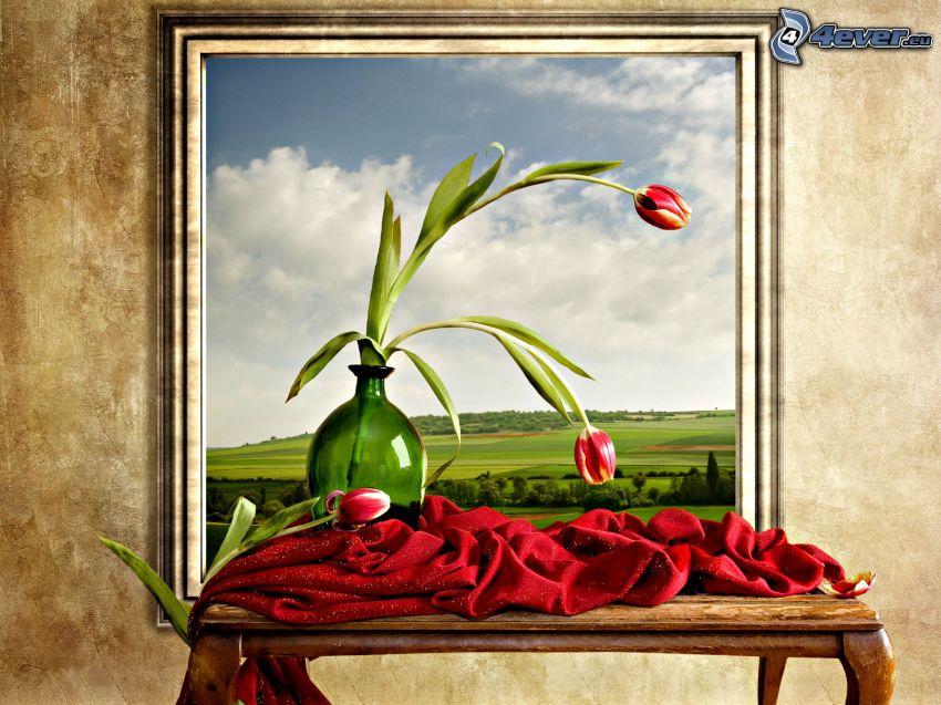 dibujo, tulipanes rojos, bufanda