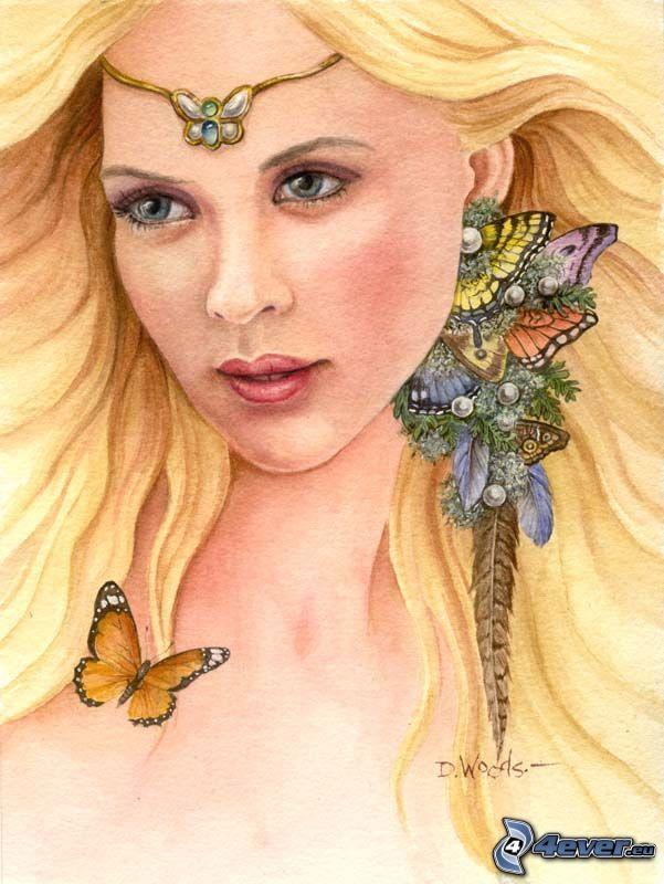 dibujos animados de chica, mariposa