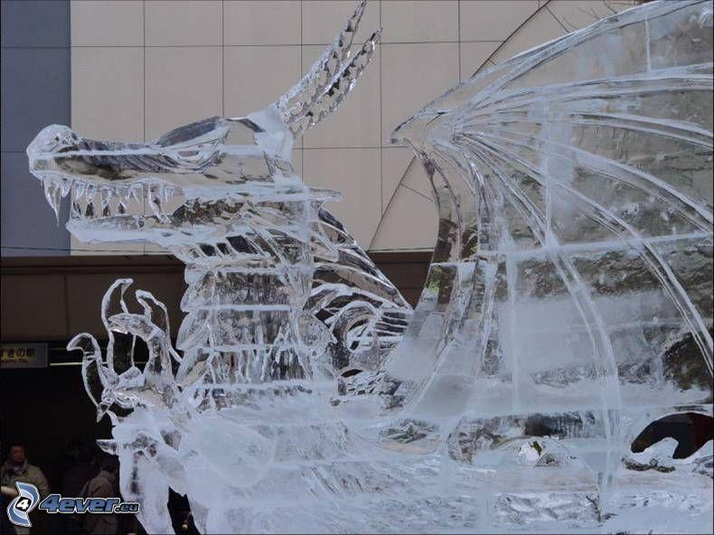 dragón de hielo, estatua