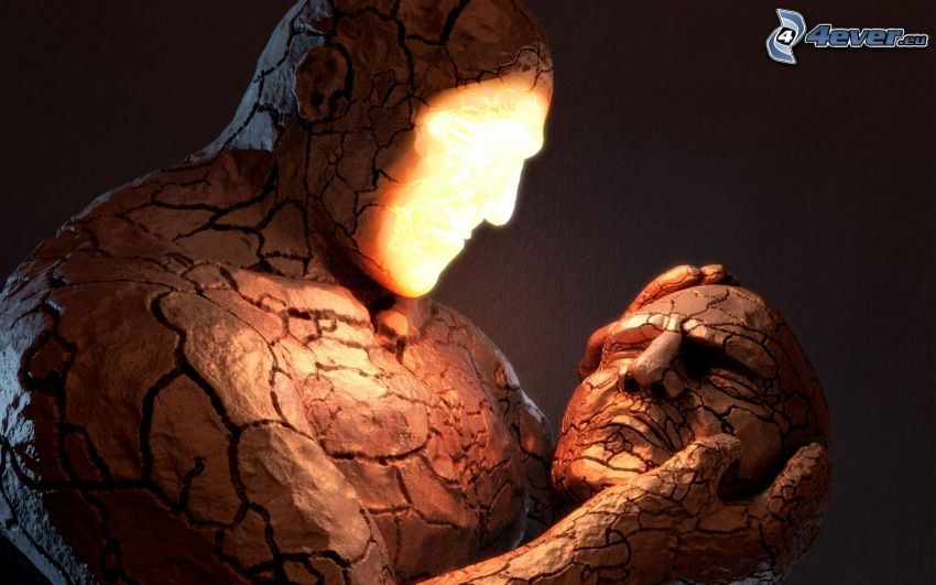 Fantastic Four, golem, estatua, cabeza