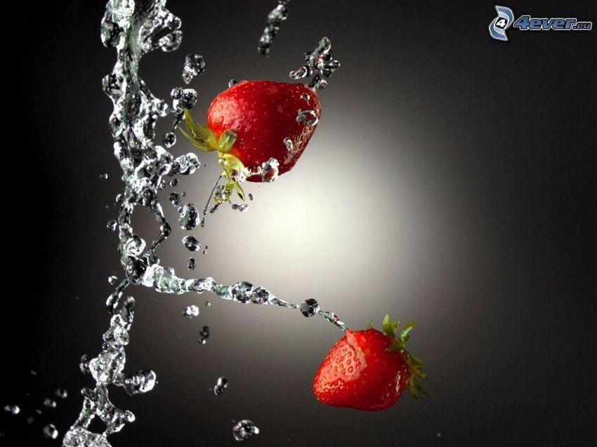 fresas, corriente de agua, gotas