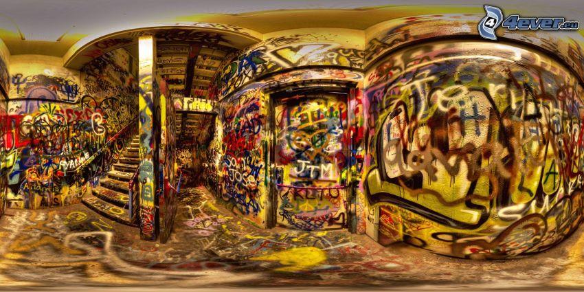 grafiti, escalera