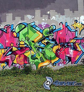 grafiti, spray, pared, arte