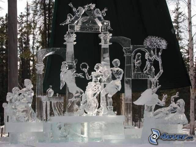 hielo, estatuaria