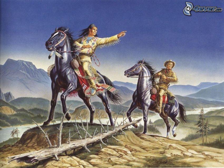 Indios, caballos, río, paisaje