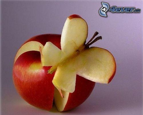mariposa, manzana
