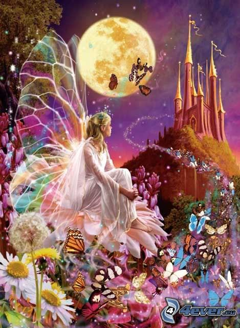 Mariposas, hada, castillo