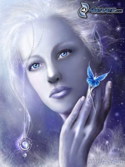 mujer blanca, collar, mariposa, cabello