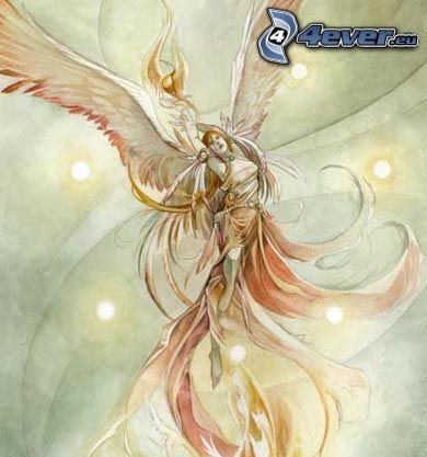 mujer con alas, caricatura de mujer