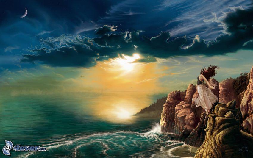 mujer en el acantilado, puesta del sol, nubes, mar