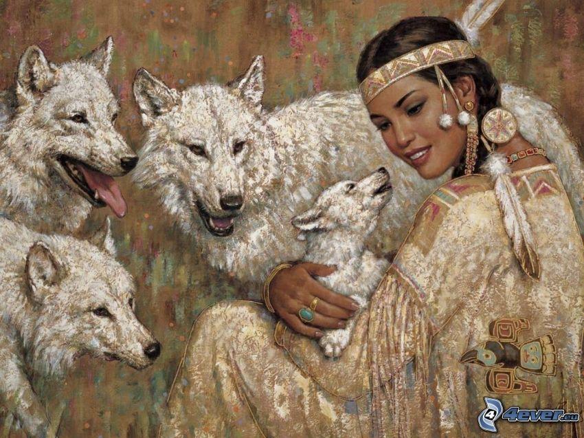 mujer indiana, cachorro de lobo, lobos blancos