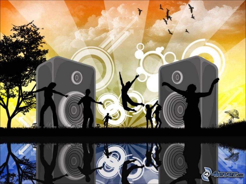 altavoces, siluetas de personas, alegría, arte digital