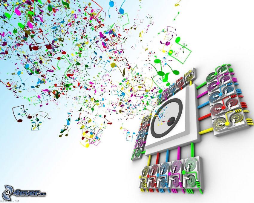 altavoz, notas de música