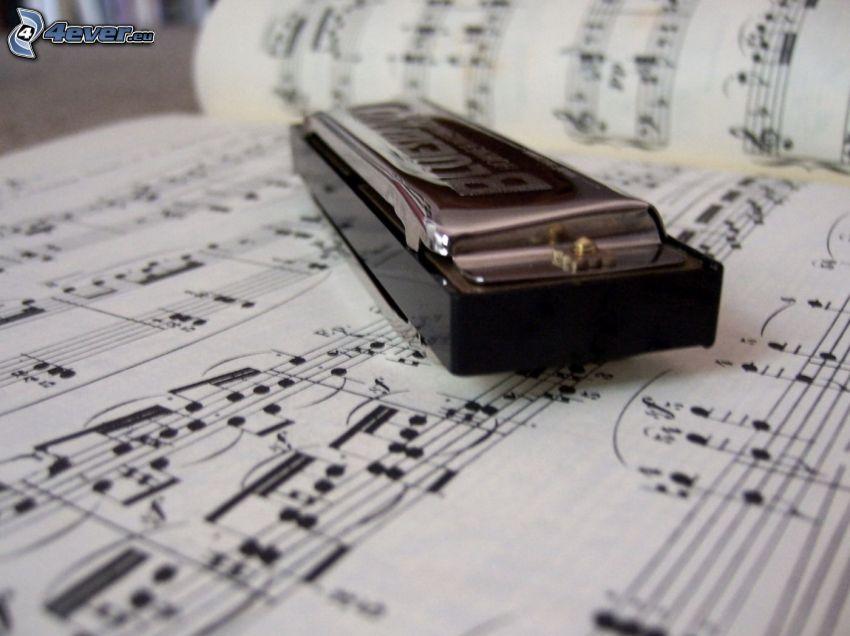 armónica, notas de música
