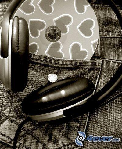 auriculares, CD, bolsa, música, vaqueros, pantalones