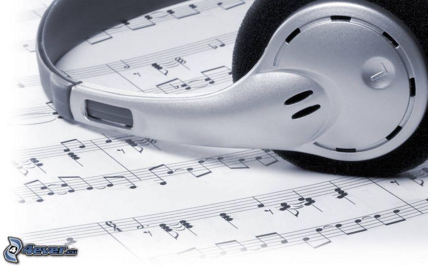 auriculares, notas de música