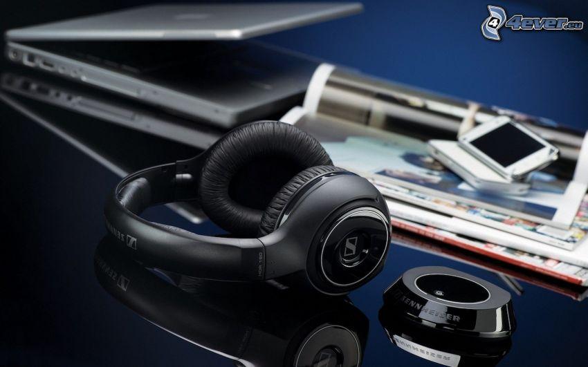auriculares, Sennheiser, notebook, teléfono móvil