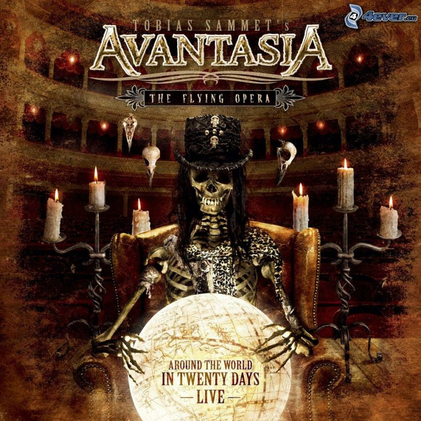 Avantasia, The Flying Opera, esqueleto, velas, teatro
