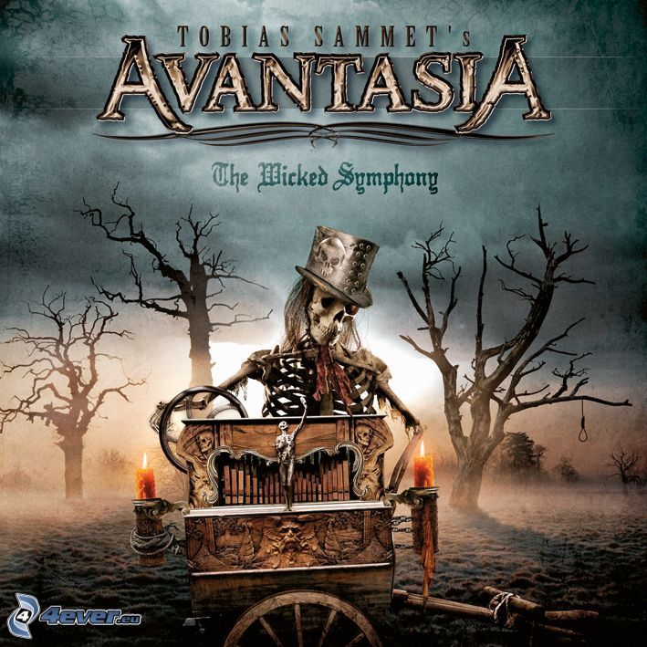 Avantasia, The Wicked Symphony, esqueleto, árboles secos, carro