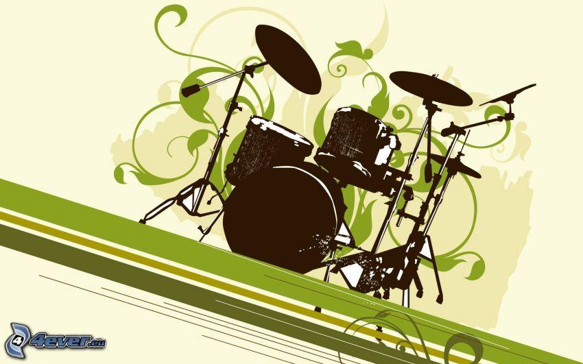 batería, silueta, líneas verdes, dibujos animados