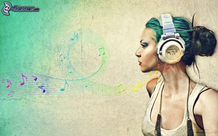 chica con auriculares, notas de música