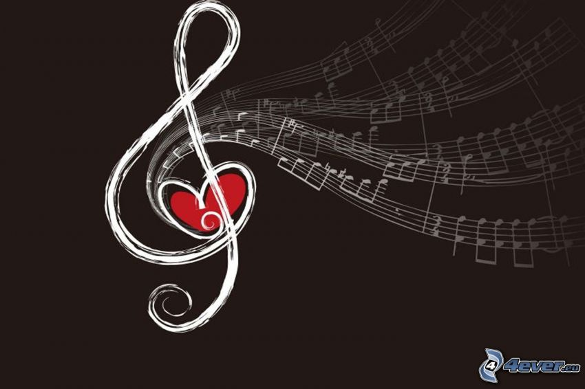clave de sol, notas de música, corazón, fondo marrón, dibujos animados