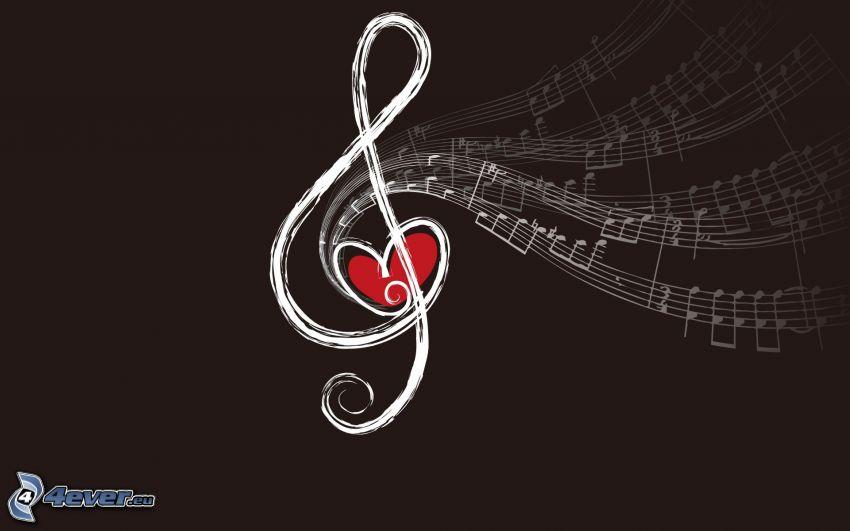 clave de sol, notas de música, corazón rojo, dibujos animados