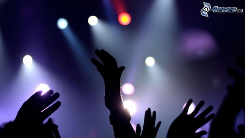 concierto, manos, Fans