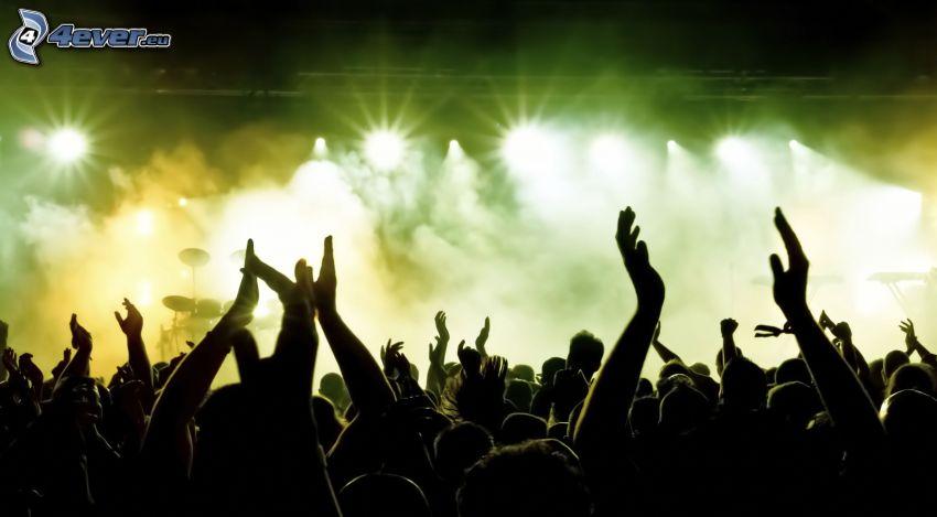 concierto, manos, multitud