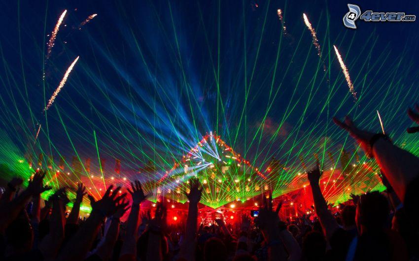 concierto, multitud, Fans, manos, luces