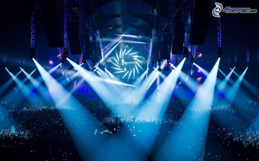 concierto, multitud, luces