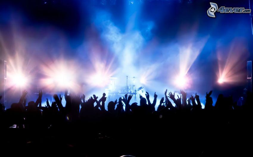 concierto, multitud, manos