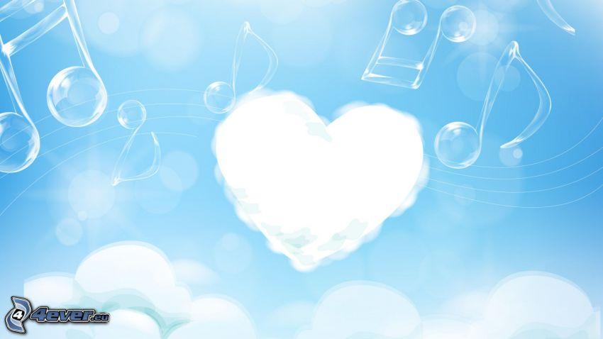 corazón, notas de música, nubes, burbujas