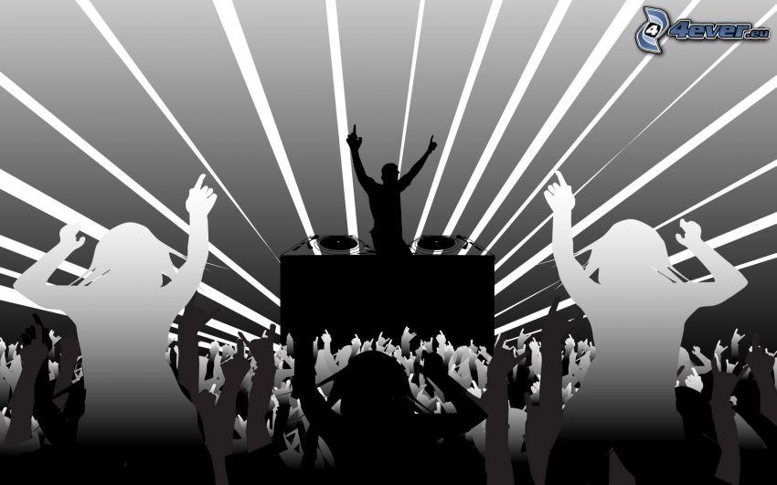 discoteca, siluetas, DJ, concierto