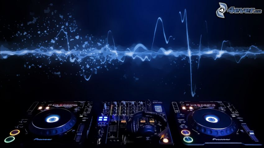 DJ consola, altavoces, auriculares