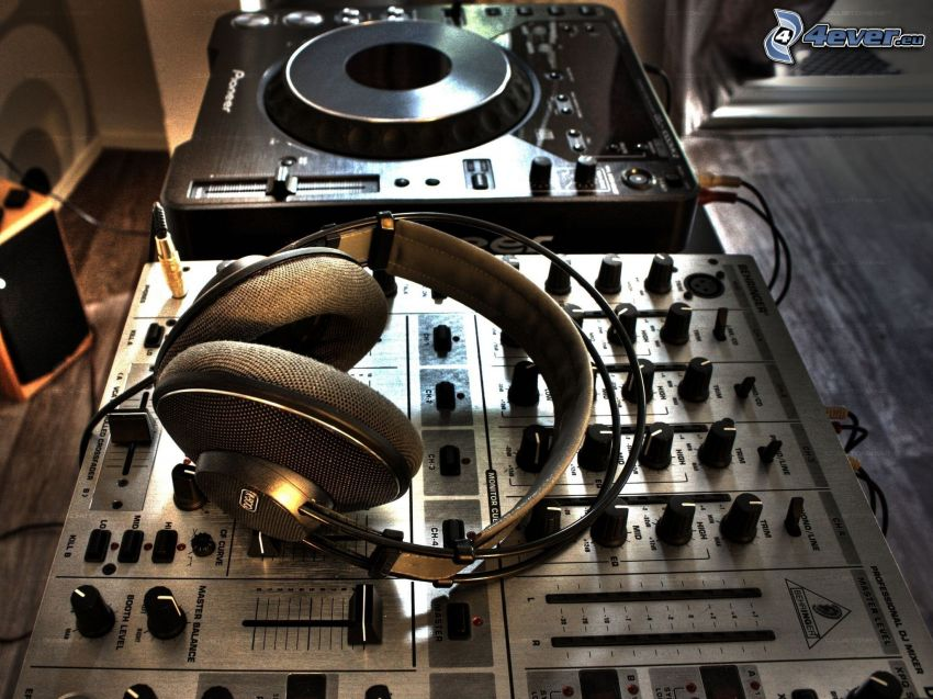 DJ consola, auriculares, Pioneer
