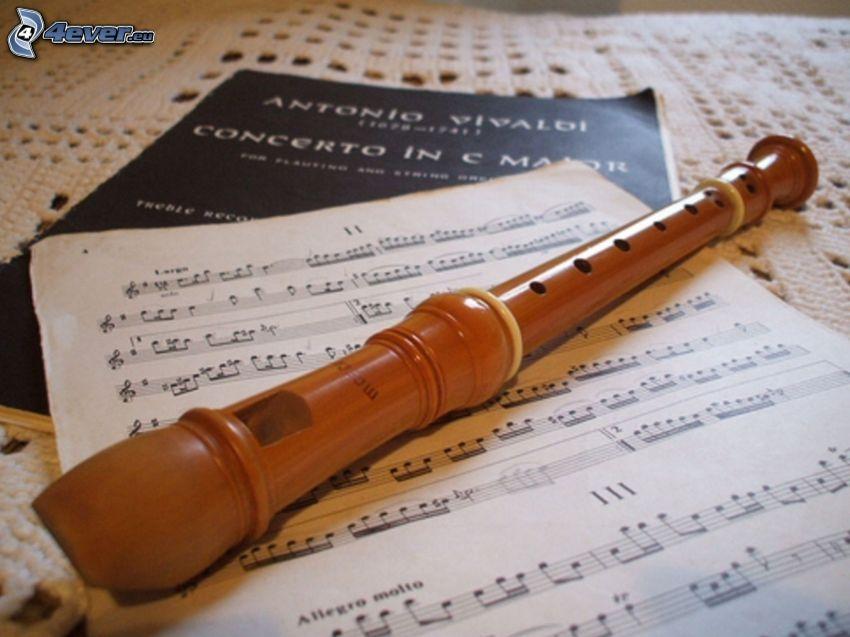 flauta, notas de música