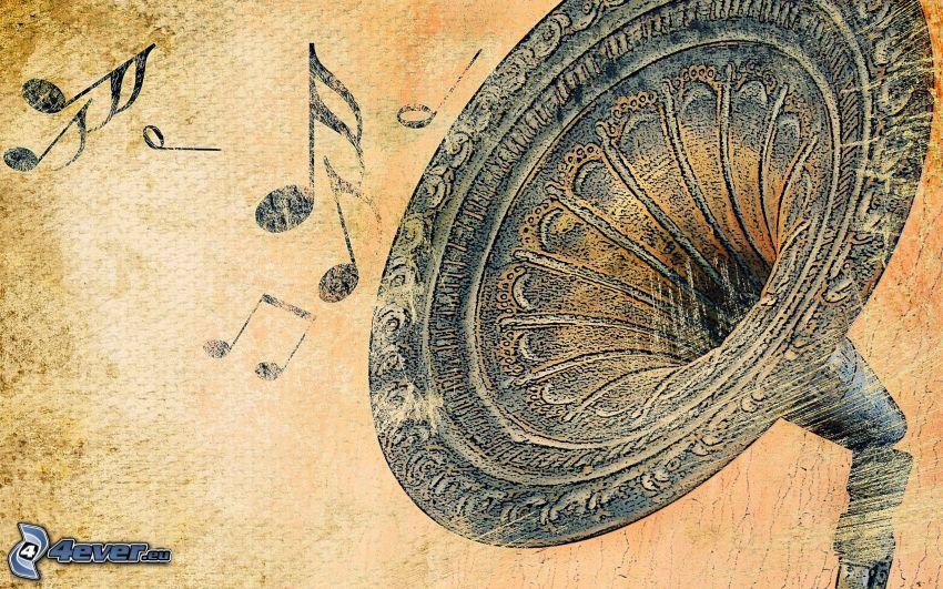 gramófono, dibujos animados, notas de música