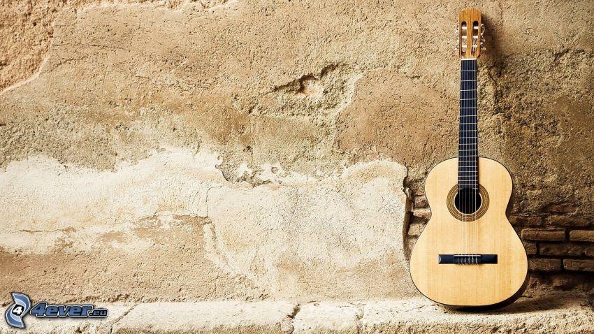 guitarra, muro viejo