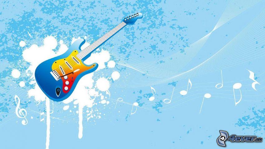 Guitarra Eléctrica, notas de música, manchas, fondo azul